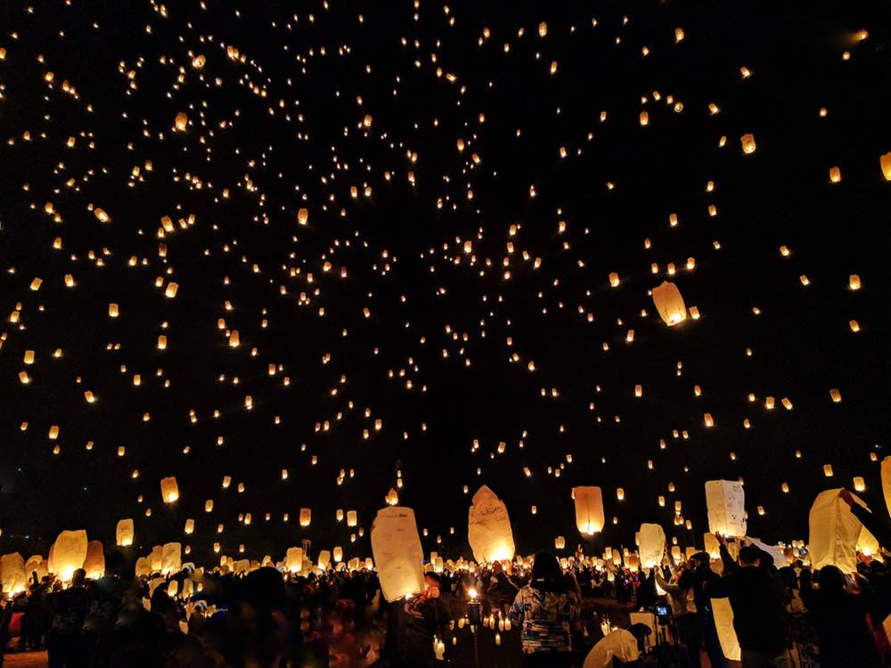 chinese lanterns filling the night sky
