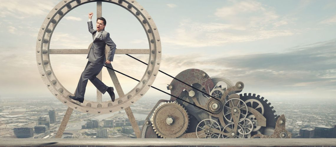 business man in hamster wheel